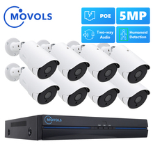 MOVOLS 8CH 5MP POE AI CCTV Camera Security System Kit Two Way Audio Outdoor 5MP IP Camera