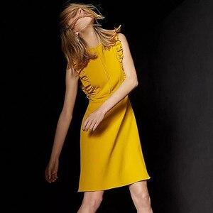 Женское винтажное мини-платье с рюшами, Элегантное повседневное платье-жилет, вечерние платья, лето 2020