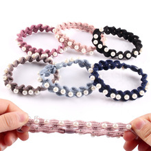 цена на Fashion Women Pearl Hair Bands For Girls Headband Elastic Hair Tie Ropes Rubber Band Hair Accessories