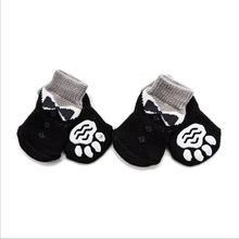 4pcs Pet Dog Shoes Warm Puppy Soft Acrylic Knits Socks Cute Cartoon Anti Slip Skid For Small Dogs Products S-XL