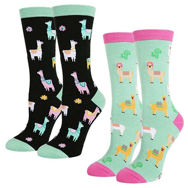 2 Pairs Women Novelty Cotton Long Crew Socks Funny Animal Crazy Llama Alpaca Animal Candy Color Casual Mid Tube Hoisery