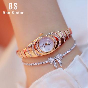Zegarki damskie luksusowa sukienka markowa Casual zegarki kwarcowe małe zegarki damskie strasy różowe złoto zegarki damskie 2019 tanie i dobre opinie BS bee sister QUARTZ 3Bar Ukryte zapięcie Stop Nie pakiet Odporny na wstrząsy Odporne na wodę STAINLESS STEEL 19mm Women Watches Luxury BS FA-15-40