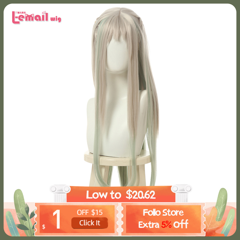 L-email Wig Nene Yashiro Cosplay Wig Jibaku Shounen Hanako-kun Cosplay Long Grey Green Straight Heat Resistant Synthetic Hair