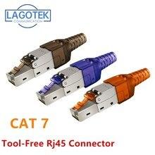 공구없는 차폐 RJ45 Cat 7 / Cat6A 종단 플러그 Cat7 플러그/Cat7 커넥터 cat6A 커넥터 모듈 형 22/23/24AWG