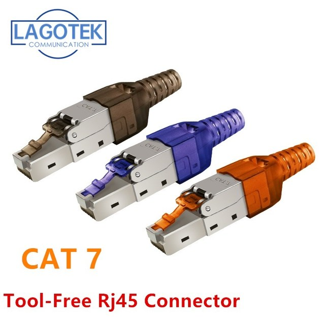 Tool Free Shielded RJ45 Cat 7 / Cat6A Termination Plug Cat7 Plug / Cat7 Connector cat6A connectors  Modular 22/23/24AWG