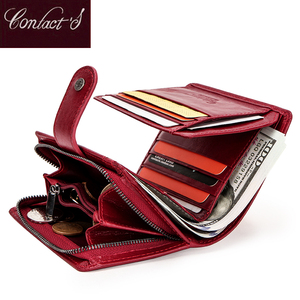 Image 1 - Contacts Genuine Leather Wallets Women Men Wallet Short Small Rfid Card Holder Wallets Ladies Red Coin Purse Portfel Damski