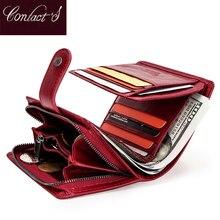 Contacts billetera pequeña de cuero genuino para hombre y mujer, porta tarjetas Rfid, monedero rojo