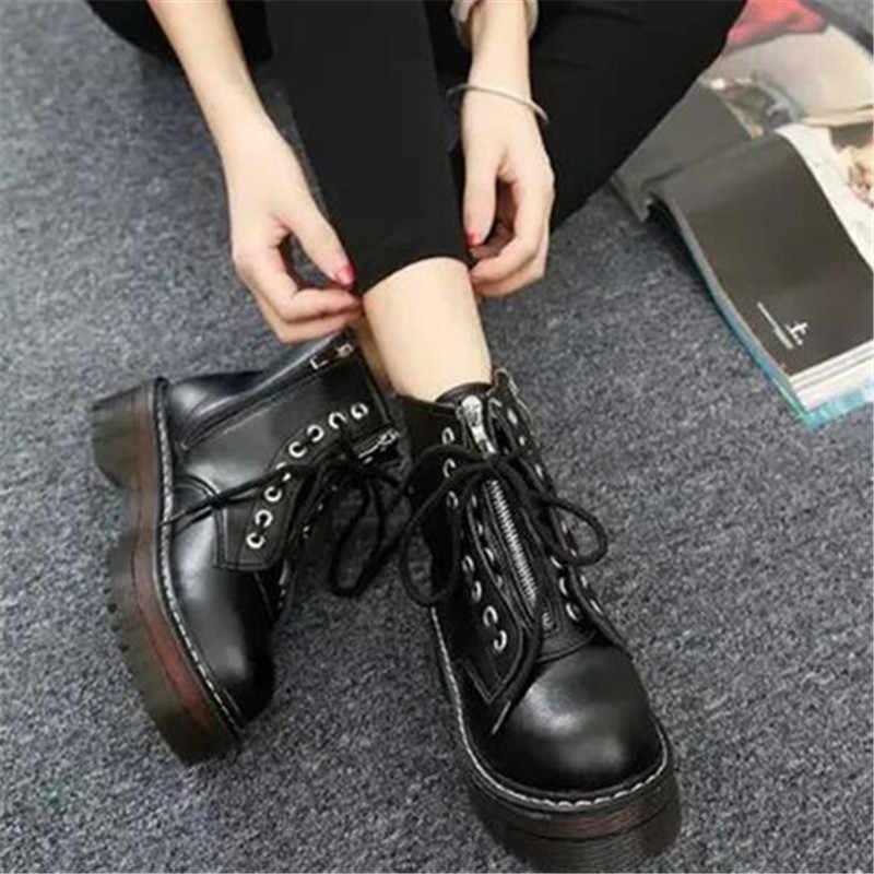 Bayan kadın kalın topuklar seksi parti Zip sürme martin çizmeler kadın dantel up pu deri ayak bileği platformu bot ayakkabı