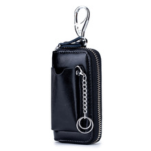 norbinus genuine leather car key holder loops pouch for keys housekeeper real leather keychain keyrings key wallet case hook bag New Men's Genuine Leather Key Wallet Men Cowhide Wallet Car Key Holder Pouch Bag Case Keys Organizer Housekeeper Keychain Cover