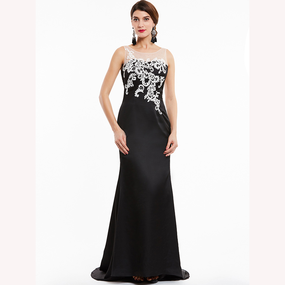 Image 2 - Dressv black long evening dress cheap scoop neck sleeveless appliques wedding party formal dress mermaid evening dresses-in Evening Dresses from Weddings & Events