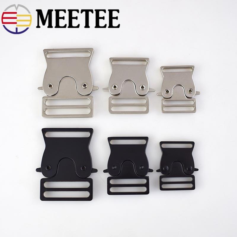 2pcs Meetee Metal Bag Quick Side Release Buckle 25/30/38mm Dog Collar Webbing Adjust Buckle Clothes Tactical Belts Accessories