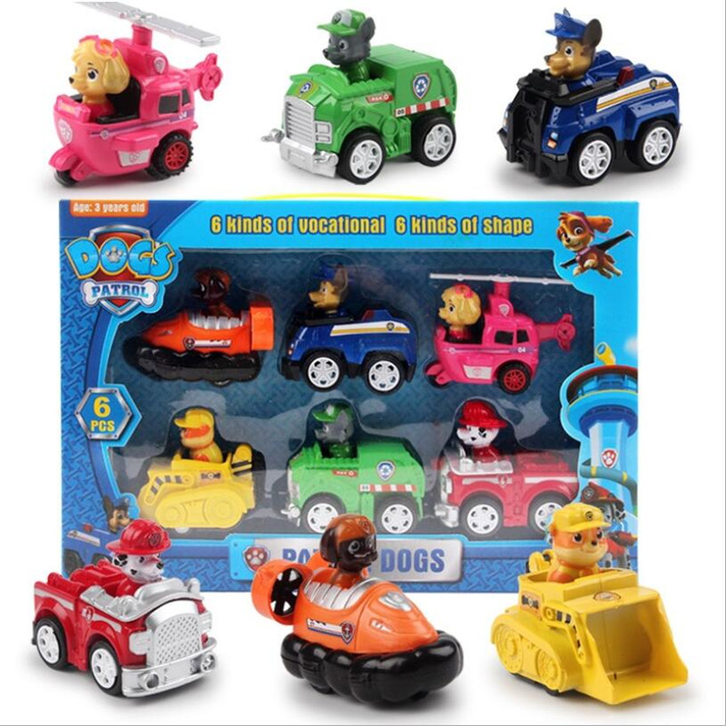 6PCS PAW Patrol Dog Children's Toy Car Package Inertial Recovery Vehicle