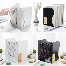 1 Pcs Metal Adjustable Bookshelf Bookends Iron Hollow Decorative Book Ends Shelf Holder Stand  For Books Organizer Stationery