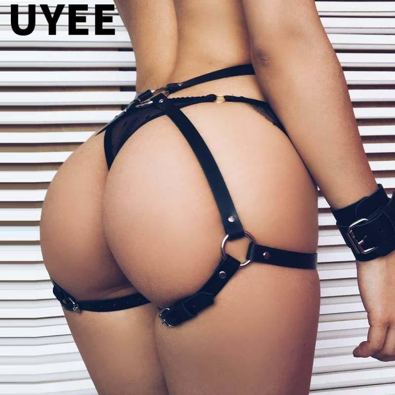 UYEE Sexy Woman Lingerie Leather Leg Harness Sex Body Strap Punk Goth Bridal Garters Belt Lingerie Erotic Suspenders