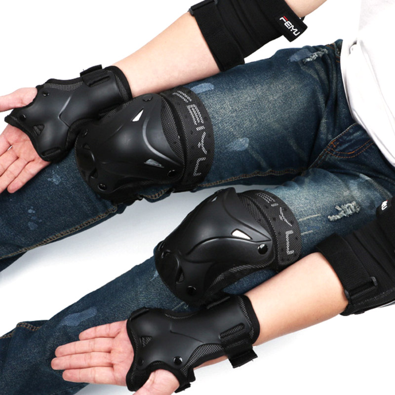 6pcs/set Cycling Skating Protective Gear Pads Knee Elbow Pads Wrist Guards Outdoor Sport Safety Protector Body Set