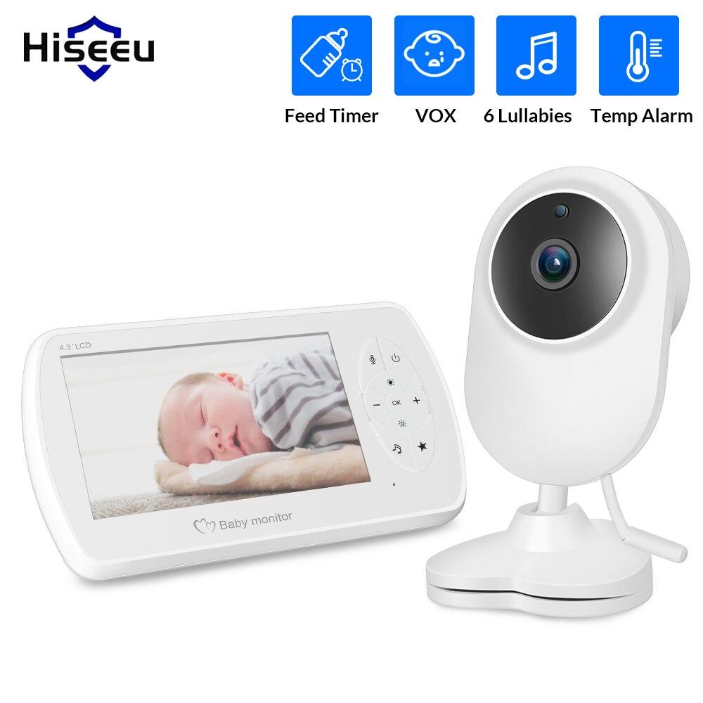 Hiseeu bezprzewodowy LCD niania elektroniczna Baby Monitor 4.3 ''dwukierunkowy dźwięk rozmowy Night Vision kamera ochrony opiekunka do dziecka IR LED monitorowanie temperatury