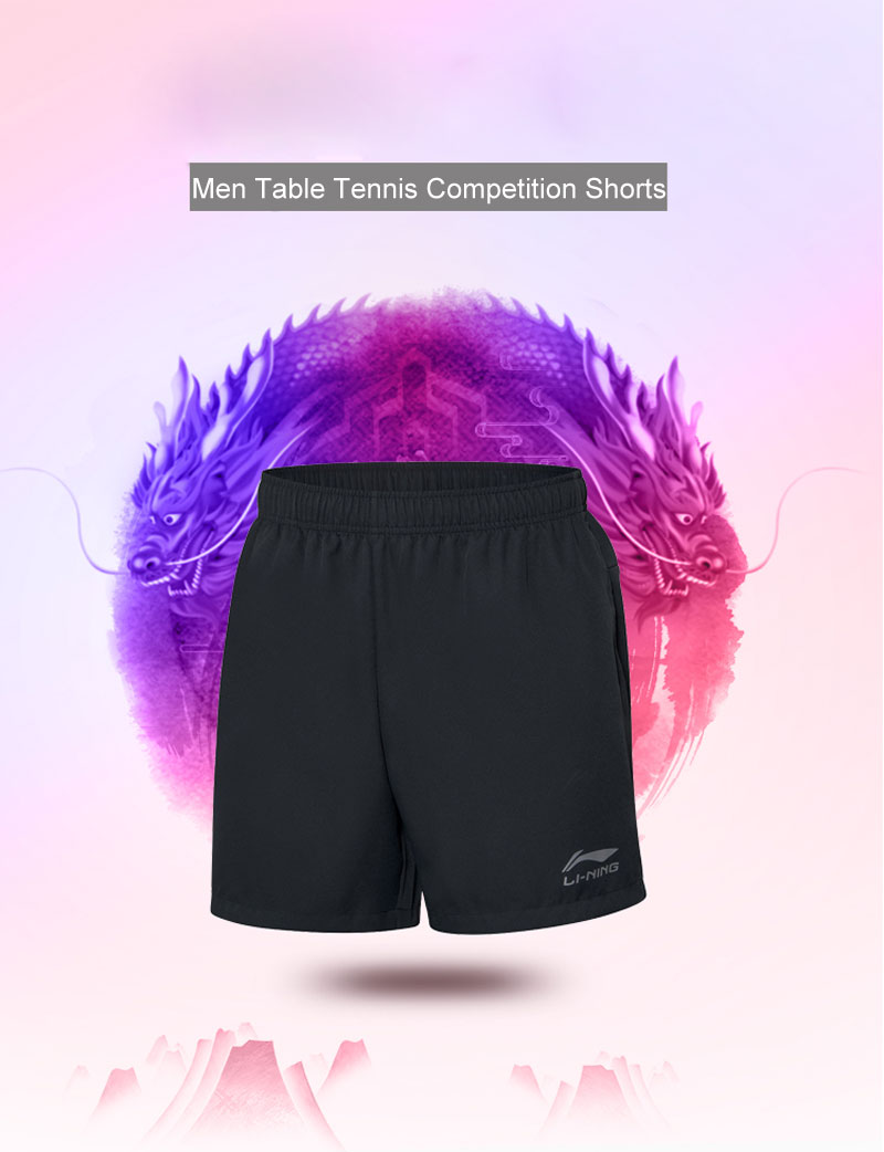 Li-Ning Men Table Tennis Shorts Breathable Regular Fit Teamwear LiNing Basic Competition Sports Shorts AAPP075 MKD1611