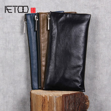 AETOO billetera de cuero hecha a mano para hombre y mujer, billetera de piel de vaca, clip para dinero, diseño simple, general