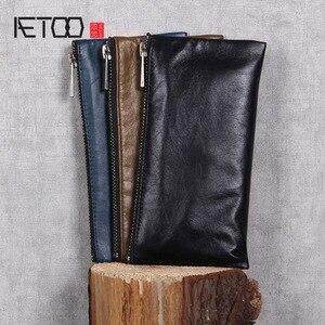 Image 1 - AETOO billetera de cuero hecha a mano para hombre y mujer, billetera de piel de vaca, clip para dinero, diseño simple, general