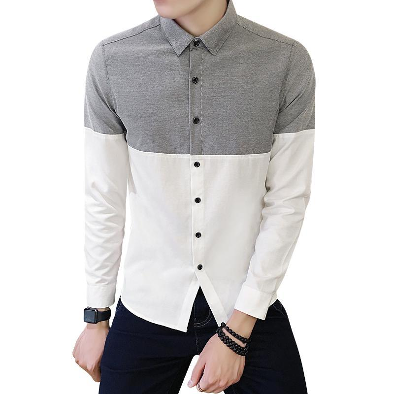 Point Collar Color Block Oxford Shirt Men Single Breasted Long Sleeve Autumn Long Sleeve Shirt Korean Men Clothes Streetwear 4XL