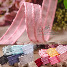 50yards 16 25 38mm big stitched hollow-out mesh organza sheer ribbon for hair bow accessories clip band handcraft supplies