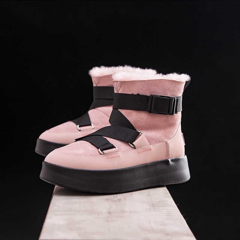 Vrouwelijke Snowboots 2019 Echt Leer Winter Laarzen vrouwen platte Pluche enkellaarsjes platform antislip warm Houden Vrouwen katoenen schoenen