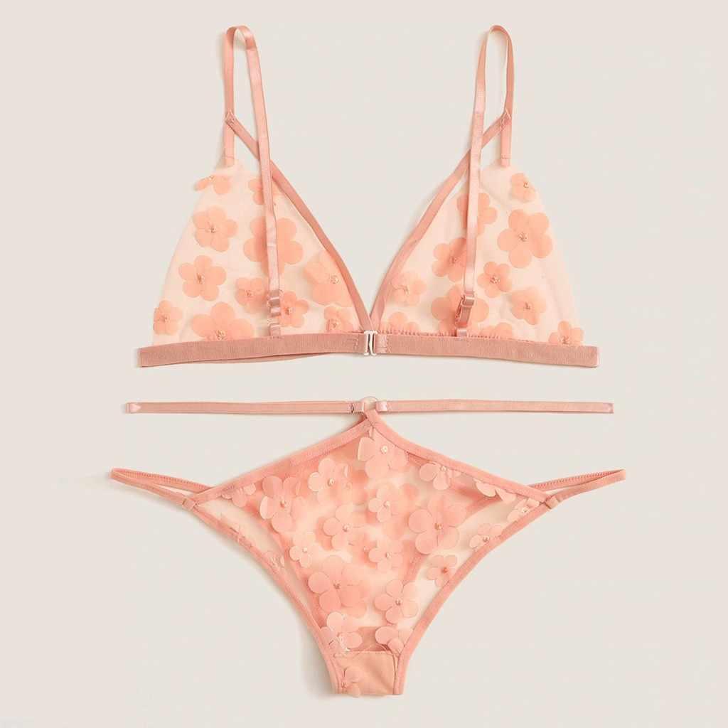 2 pçs sexy lingerie conjunto flor applique sutiã tanga roupa interior sexy trajes babydoll erótico langerie porno lenceria mujer feminina