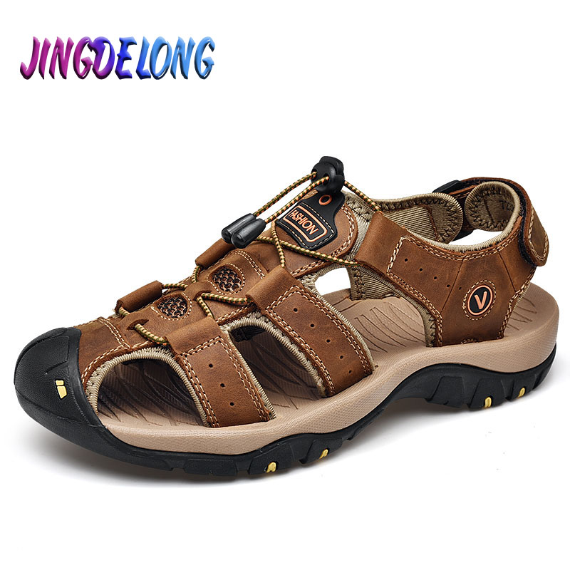 Classic Brand Summer Men Sandals High Quality Leather Male Outdoor Beach Slippers Handmade Male Casual Shoes Plus Size 38 49