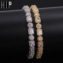 Hip Hop 8MM Bling Square Iced Out Cubic Zirconia Bracelet Geometric AAA CZ Stone Tennis Chain Bracelets Men Women Jewelry