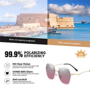 Image 2 - AOFLY BRAND Polarized Sunglasses Women Metal Frame Luxury Female Designer Oversized Square Sunglasses For Ladies Goggle UV400