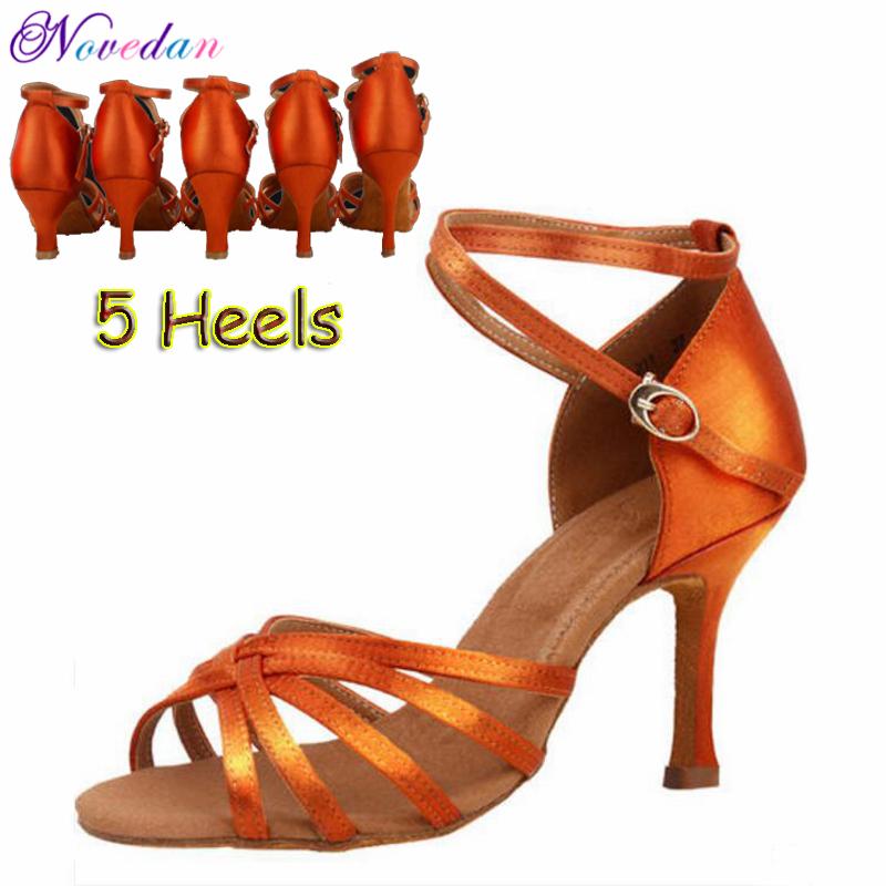 Women Latin Dance Shoes Satin Sandal Ladies Girls Salsa Tango Ballroom Dancing Shoes Soft Sole High Heels 5 cm/6 cm/7 cm/8 cm