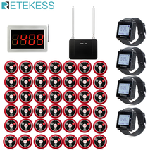 цена на Restaurant Pager Wireless Waiter Calling System 1 Receiver Host+4 Watch Receiver + 1pcs Signal Repeater + 42 Call Button T117