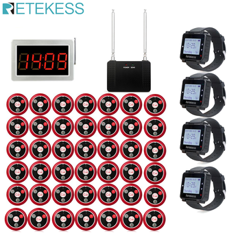 Retekess Restaurant Pager Receiver Host+4 Watch Receiver+Signal Repeater+42 T117 Call Buttons Wireless Calling System Bar Office