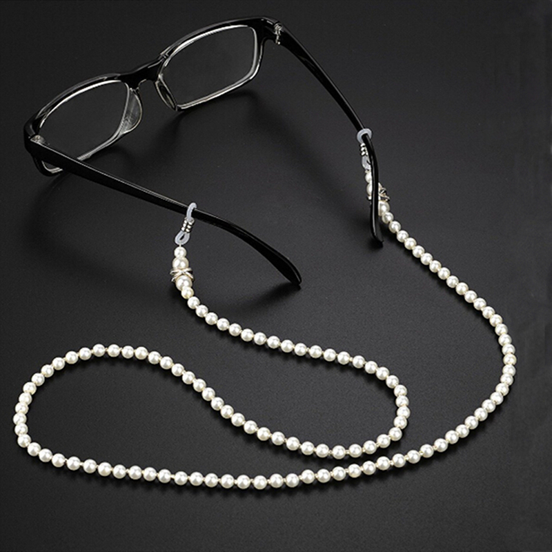 Imitation Pearls Fashion Glasses Chain Wearing Neck Holding Sunglasses Cord Drawstring Cord Reading Glasses Holder Accessories