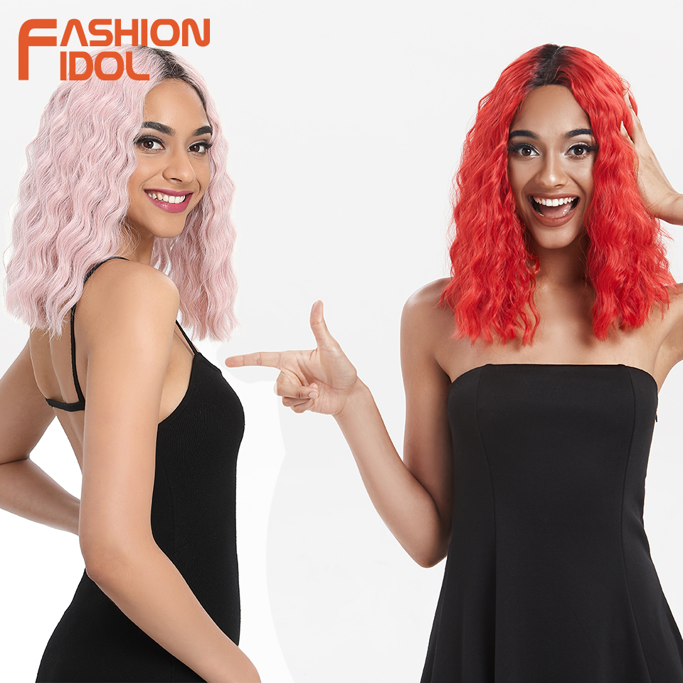 FASHION IDOL Bob Lace Front Wigs For Black Women Curly Synthetic Wig Heat Resistant 14