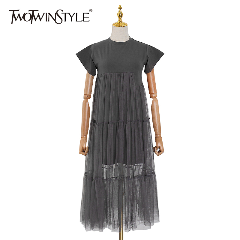 TWOTWINSTYLE Patchwork Mesh Perspective Dress For Women O Neck Short Sleeve Casual Female Dresses 2020 Spring Fashion New