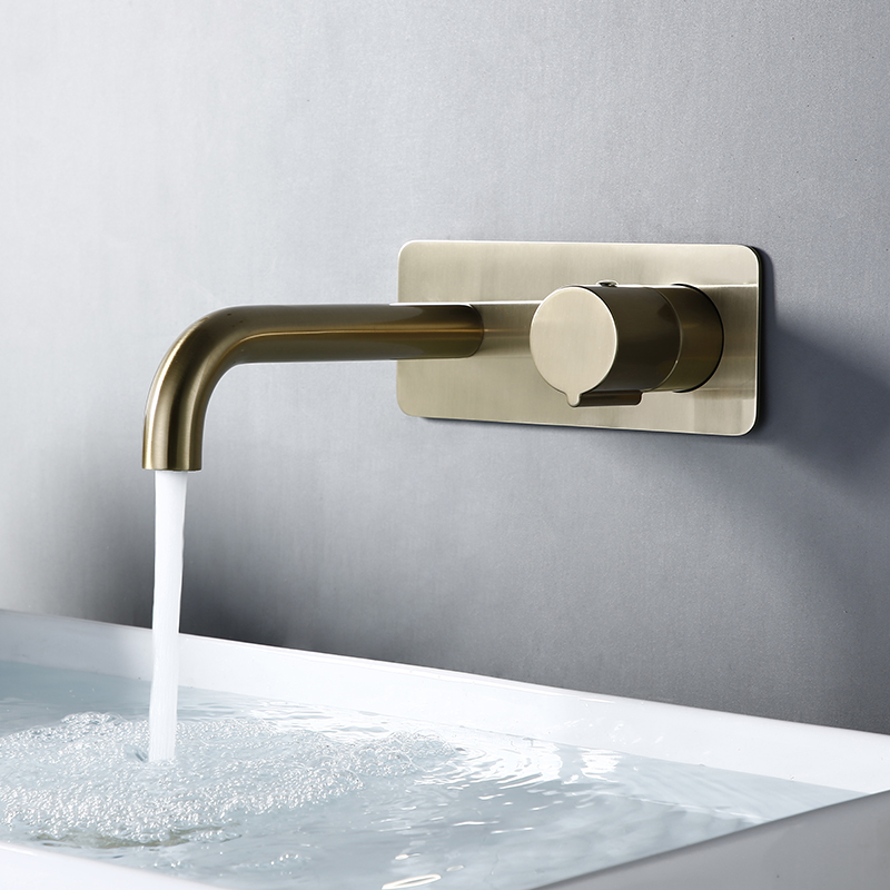 Bagnolux Brushed Gold 2 Hole Swivel KnobHot And Cold Water Brass Bathroom Sink Faucet Round Bath Trim Mixer Tap With Cover Plate