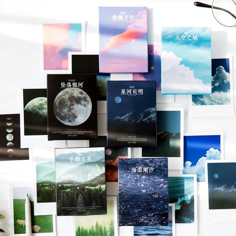 Journamm 30pcs Ins Style Lomo Card Moon Ocean Sticky Deco Stickers Child Gift Scrapbooking Kawaii De