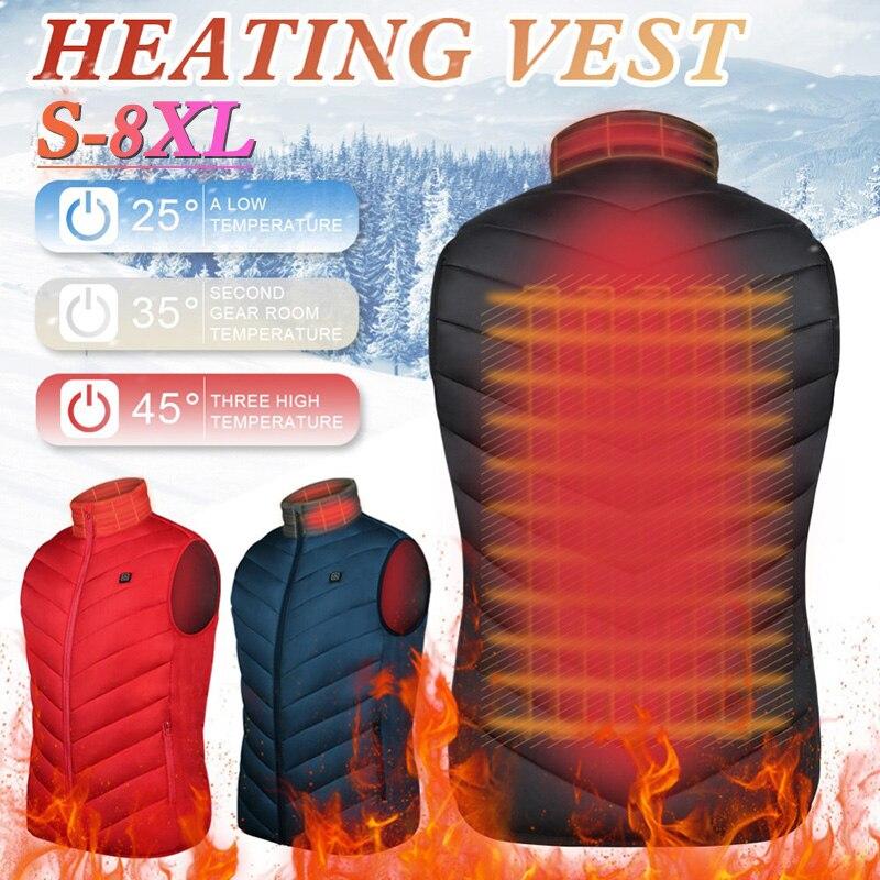 Жилет с подогревом, теплая зимняя куртка с электроusb, мужское и женское пальто с подогревом, моющаяся Термоодежда с 2 зонами обогрева, размер...