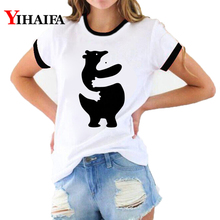 Women 3D Print T Shirts Black White Loverr Animal Graphic Tees Fashion Lady Summer White Casual T-shirt Short Sleeve Tops