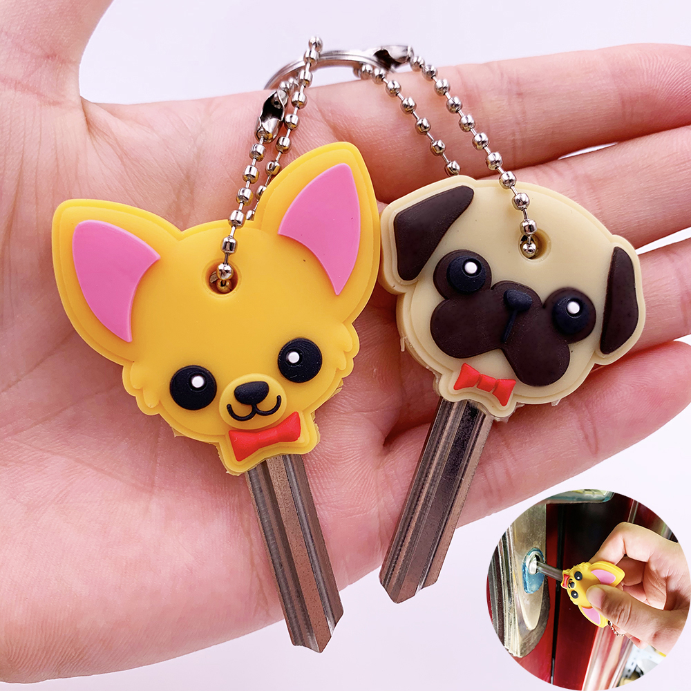 1 Pc Protective Key Case Cover For Key Control Dust Cover Holder Cartoon Dog Cat Silicone Organizer Home Accessories Supplies