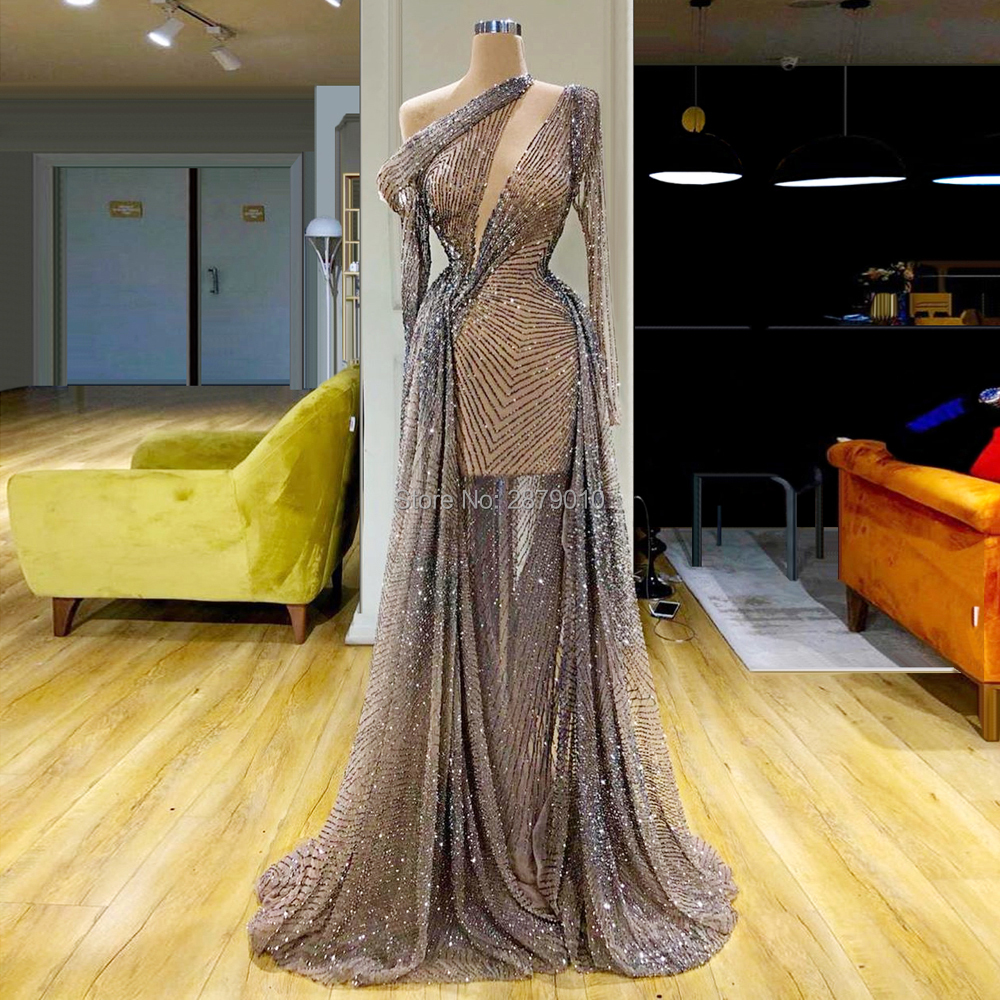 Brilliant Sexy Women's New Arrival Mermaid Evening Dress Sequined Full Sleeves Metal Spraying Floor-Length Celebrity Formal