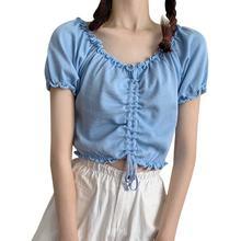 Женские футболки bobora чистого цвета с v образным вырезом и