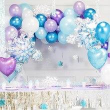 Elsa anna princesa festa decoração de natal floco de neve folha balões bebê mostrar crianças 1st aniversário balão arco casamento