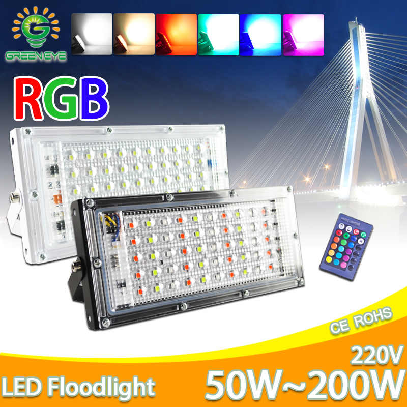 LED Flood Light 50 Watt AC 220V 240V Lampu Sorot Outdoor Spotlight RGB Hangat Dingin Lampu Jalan LED IP65 tahan Air Landscape Lighting