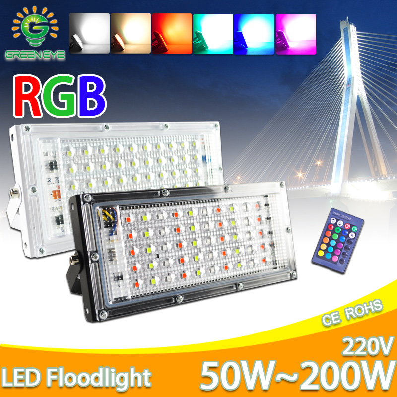 LED Flood Light 50W AC 220V 240V Outdoor Floodlight Spotlight RGB Warm Cold LED Street Lamp IP65 Waterproof Landscape Lighting