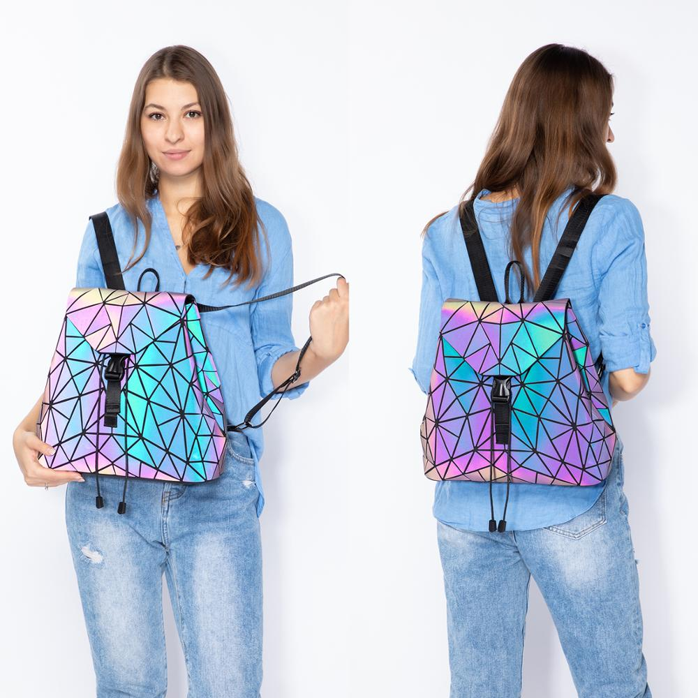 Reflective Geometric Luminescent  Bag Set - Clutch, Purse, & Backpack 3