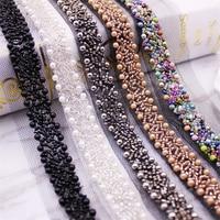 Cinta de encaje con cuentas para costura, cinta de encaje de 1 yardas/lote, cinta de encaje, adorno de tela, Collar bordado, decoración, tejido de encaje africano