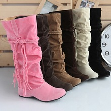 Women Boots new pink Fashion Women Shoes Plus Size Winter Boots Fringe High shoes Female Boots Suede Ladies Shoes