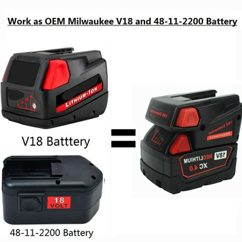 цена на Battery Adapter Converter 18V Li-ion Battery Tools Power Charging Milwaukee m18 48-11-1815 48-11-1850 48-11-1820 48-11-1840